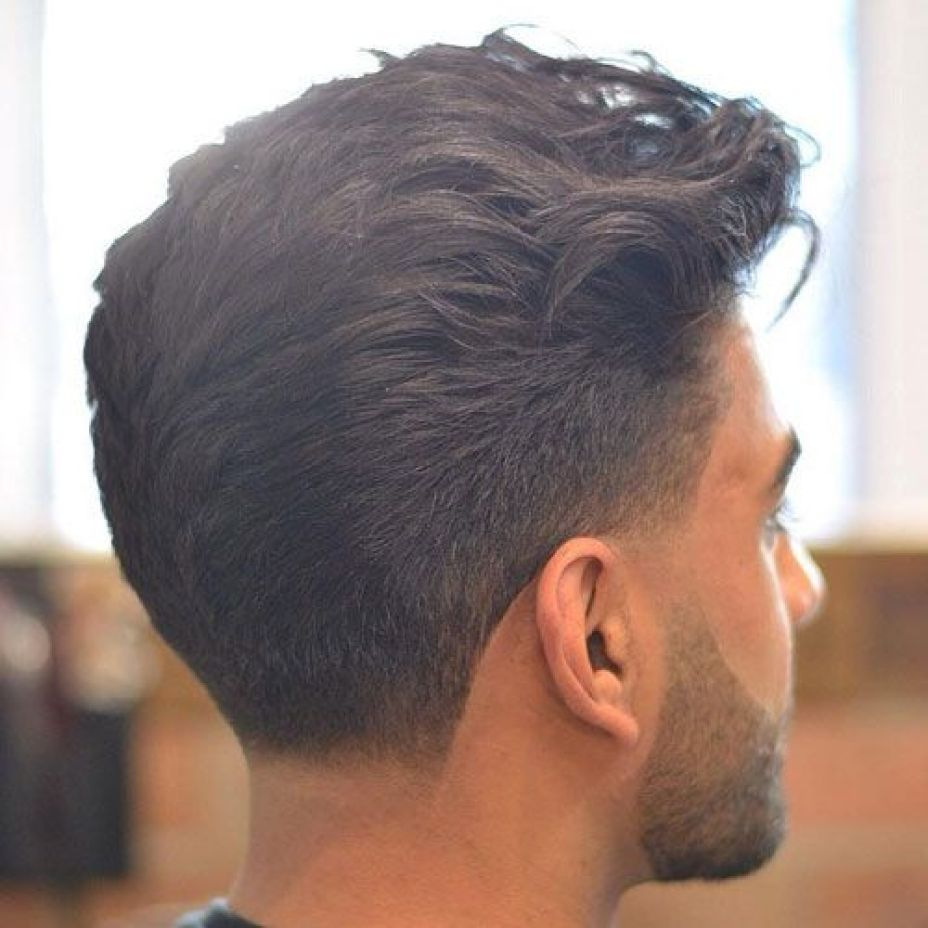Textured Pompadour with Low Fade