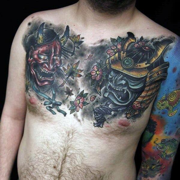 Evil Samurai Masks & Flowers Chest Tattoo