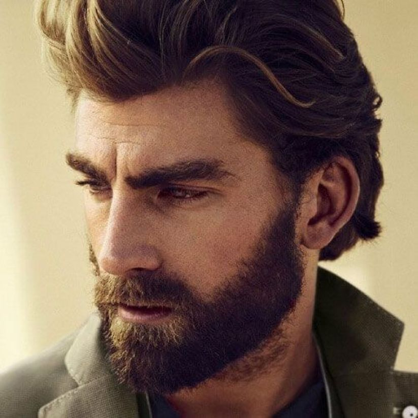 Brown Slicked Back Hair with Full Beard