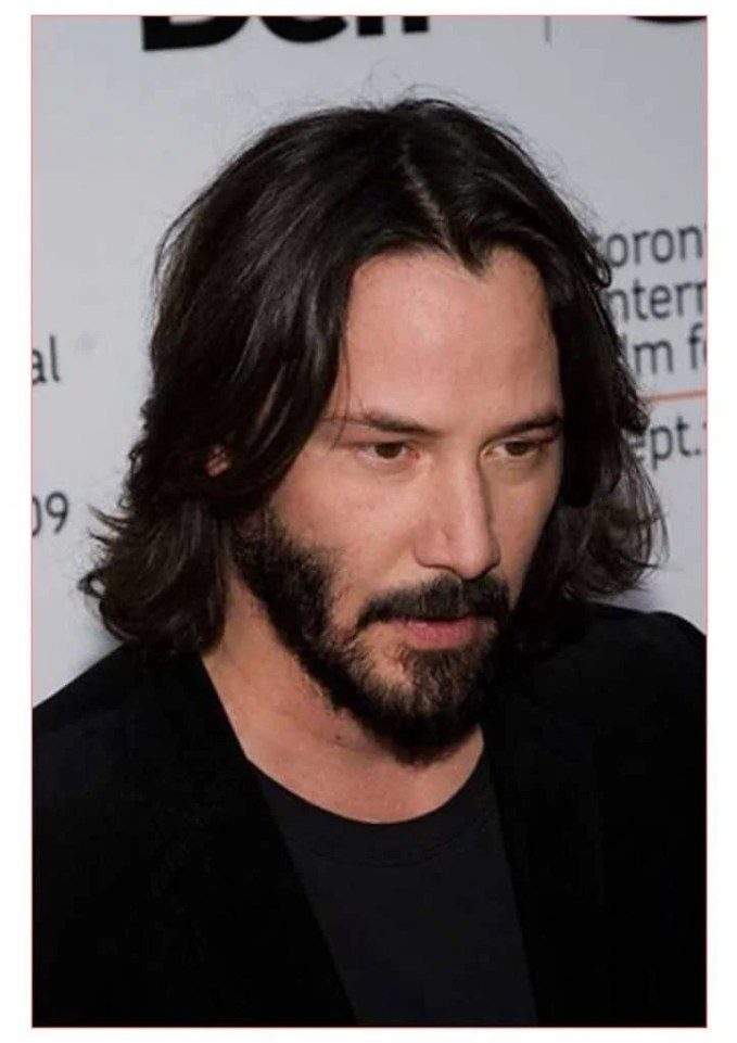 Keanu Reeves with Medium Length Hair with Amazing Beard Style