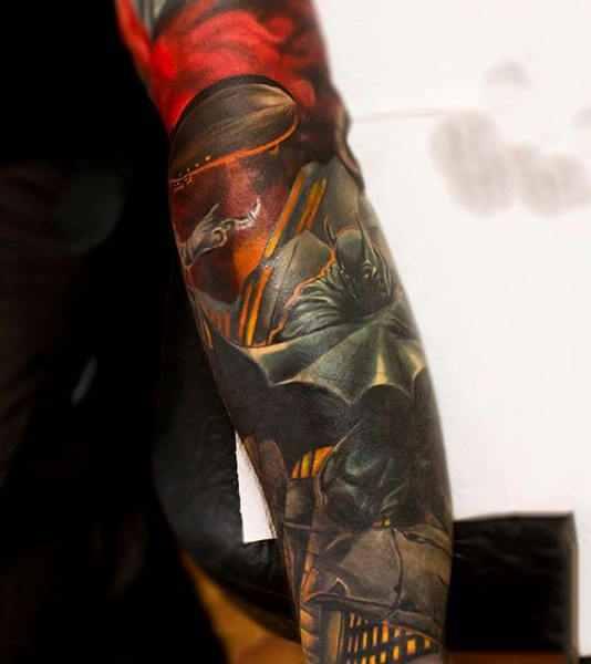 Full Batman Sleeve Tattoo