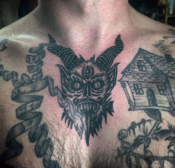 Guy with Devil Tattoo Chest Design