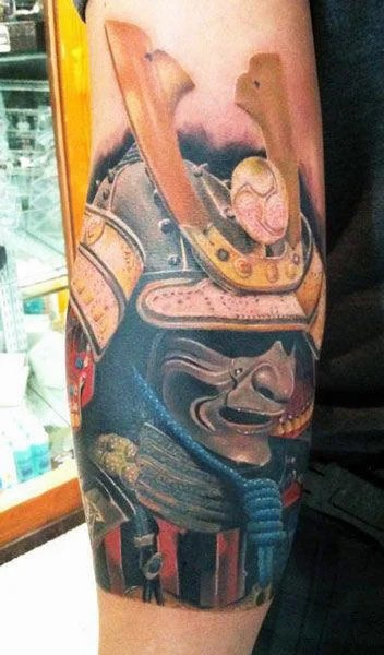 Realistic Samurai Mask Tattoo