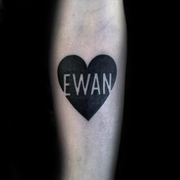 Cool Heart & Name Forearm Tattoo