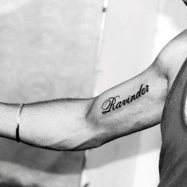 Small Name Inner Arm Tattoo