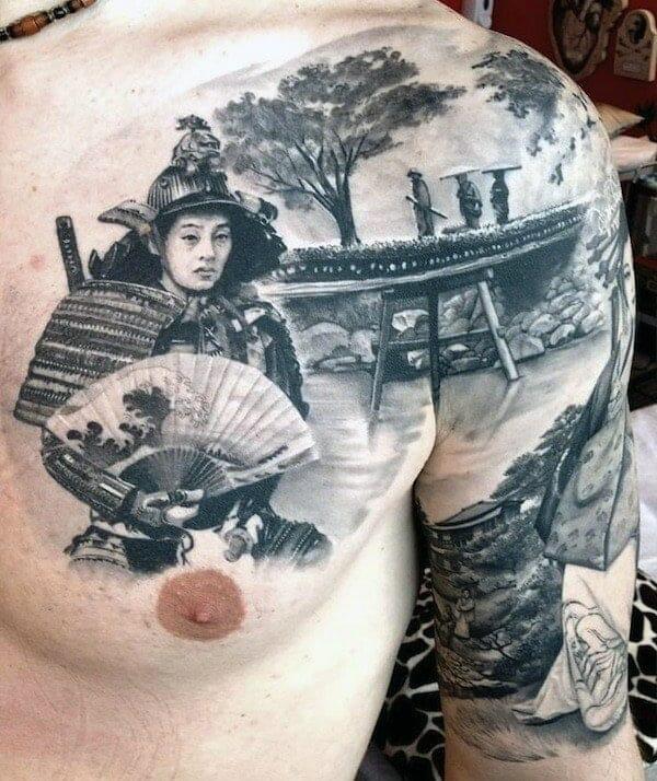 Chest & Arm Samurai Tattoo