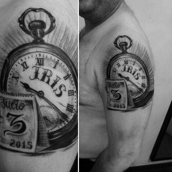 Kids Name In Pocket Watch Arm Tattoo