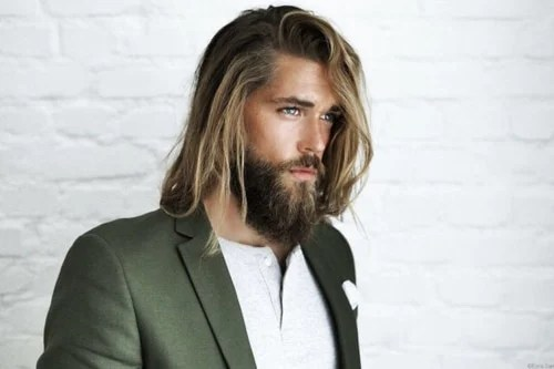 Man with Long blonde Hair & Thick Beard