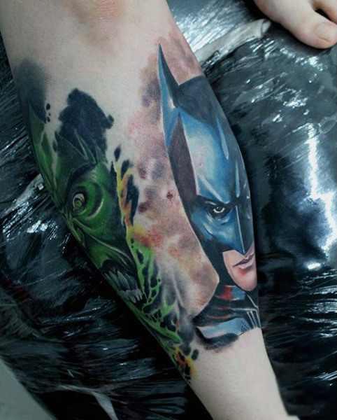 Batman Calf Tattoo