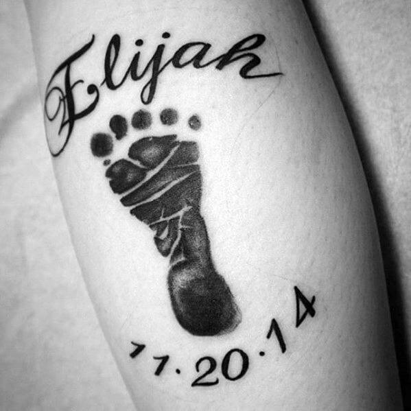 Name & Footprint Arm Tattoo