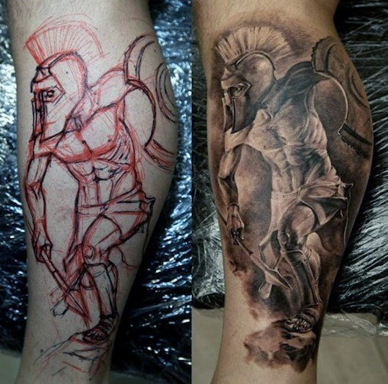 warrior leg tattoo