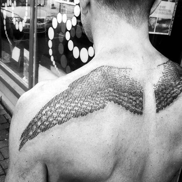 linework wings tattoo