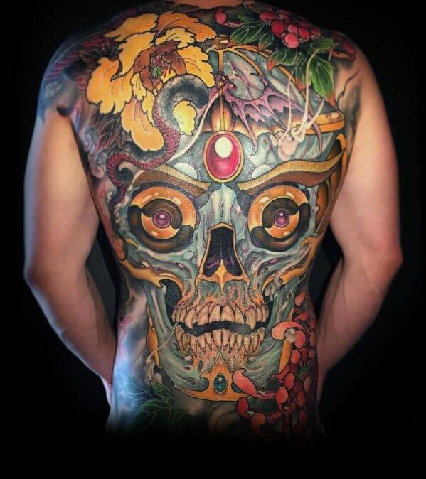 Cool Skull Back Tattoo