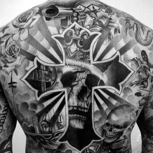 Cross & Skull Back Tattoo