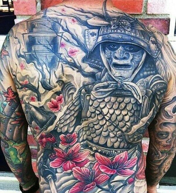 Floral Samurai Tattoo