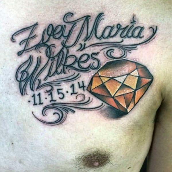 Kids Name with Diamond Tattoo