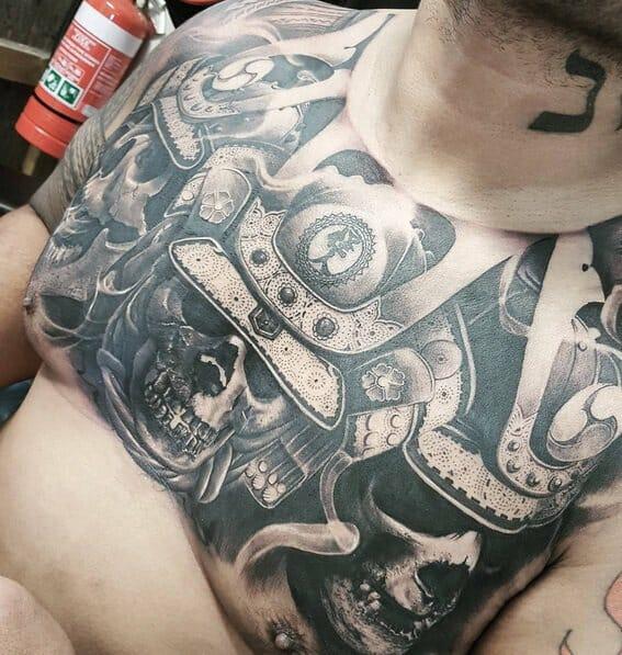 Samurai Chest Tattoo