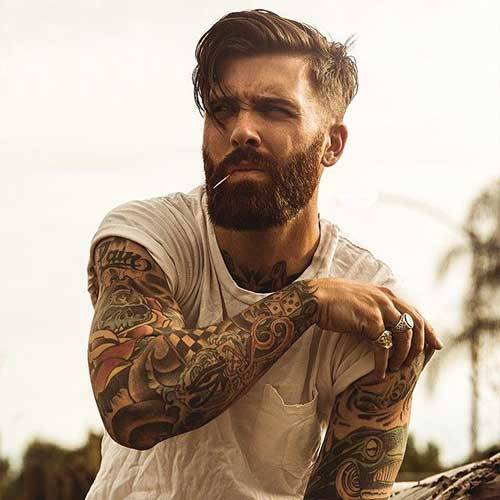 Medium Undercut Hairstyle with Thick Bandholz Beard