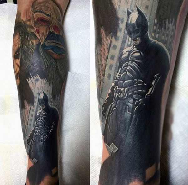 Realistic Batman Design Tattoo