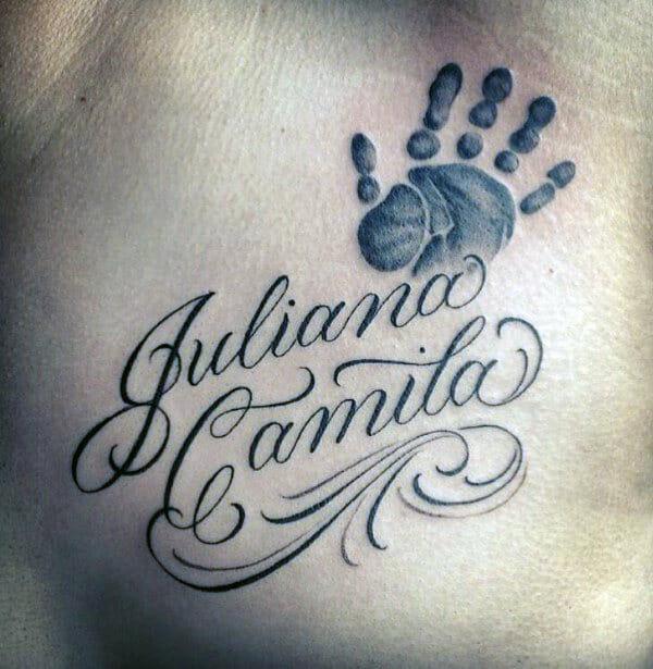 """""""Juliana"""" Handprint Upper Chest Name Tattoo"""