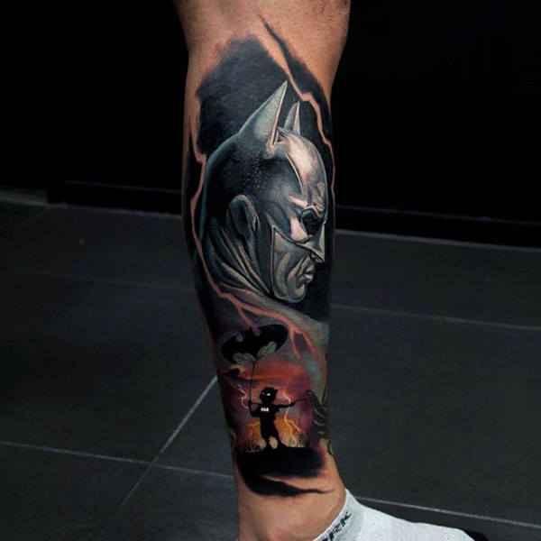 Batman Lower Leg Tattoo design