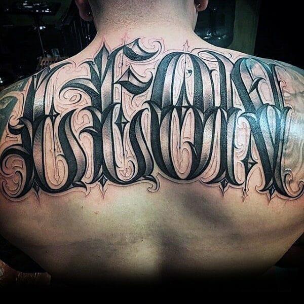 """""""Leon"""" Ornate Full Back Name Tattoo"""