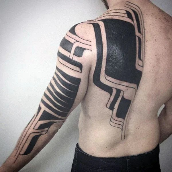 Modern Tribal Arm & Back Tattoo