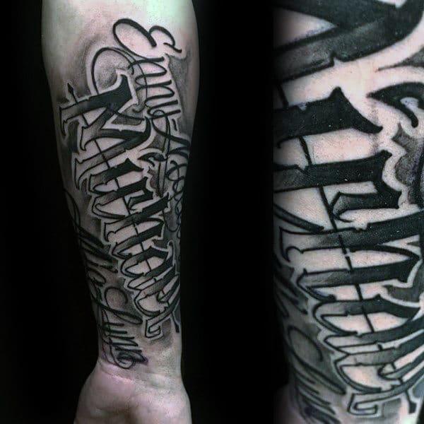 Kids Name Forearm Tattoo