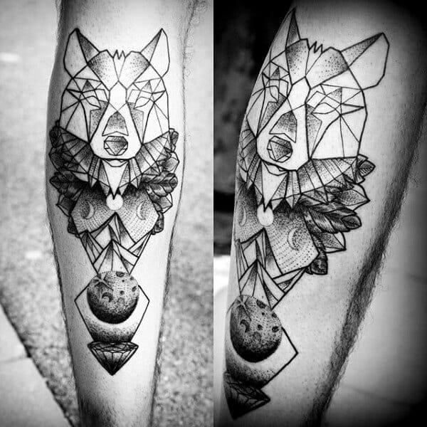 wolf leg tattoo design