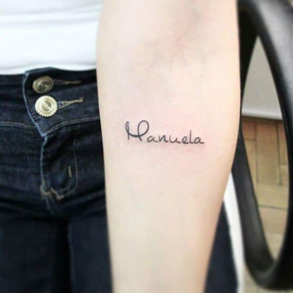 Cool Name Arm Tattoo Idea