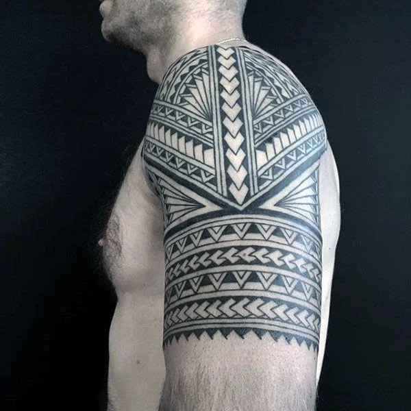Polynesian Tribal Half Sleeve Arm Tattoo