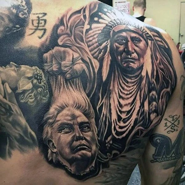 Native American back tattoo