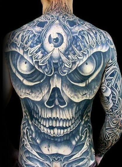 sharp skull tattoo