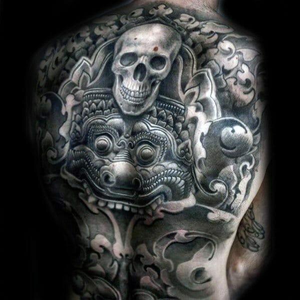 skull back tattoo