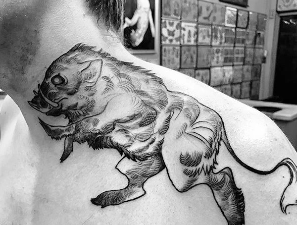 Boar Hand Tattoo