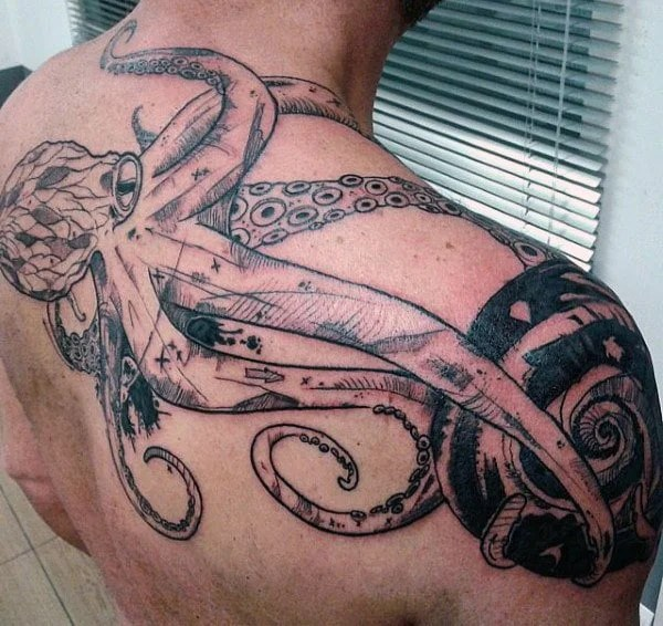 octopus back tattoo
