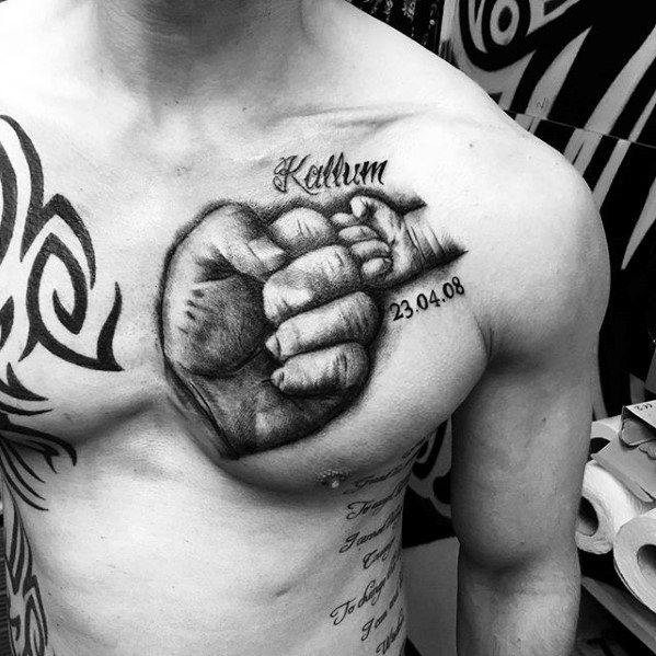 Two Hands Upper Chest Tattoo