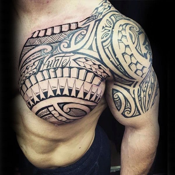 Upper Chest & Arm Tribal Tattoo