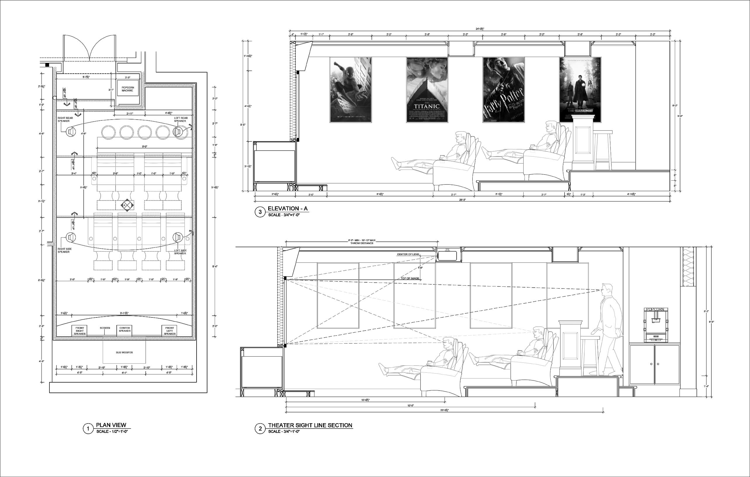 Residential Theater Drawings