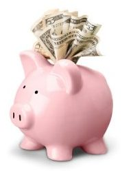 Piggy bank with bills inserted
