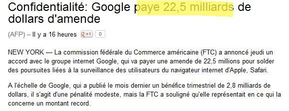 Dépêche AFP amende Google