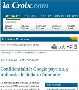 La Croix 9 aout 2012 amende Google