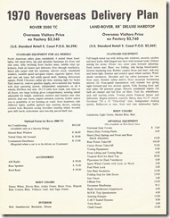 1970 Roverseas Delivery Plan - Front Page