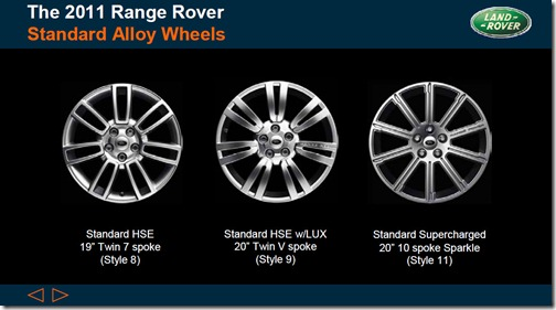 2011 Range Rover - Standard Alloy Wheels - Style 8, Style 9 & Style 11