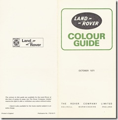 Land Rover Colour Guide - October 1971 - Outside