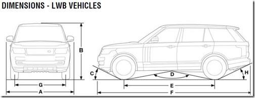 Range Rover Long Wheel Base (LWB) Official Dimensions