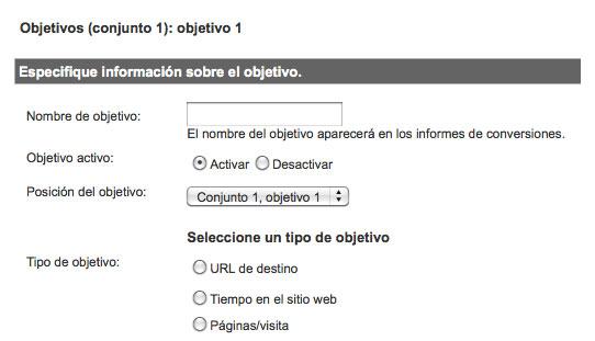 Configuración de objetivos en Google Analytics