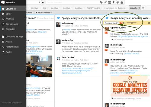 Monitorización con Hootsuite. resultados filtrados por Klout