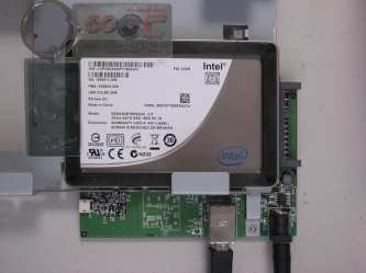 Intel SSD mounted in the Buffalo SSUSB device.