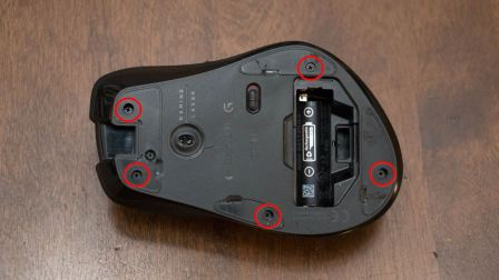Bottom of the mouse showing screw locations